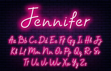 Glowing Neon Script Alphabet. ...
