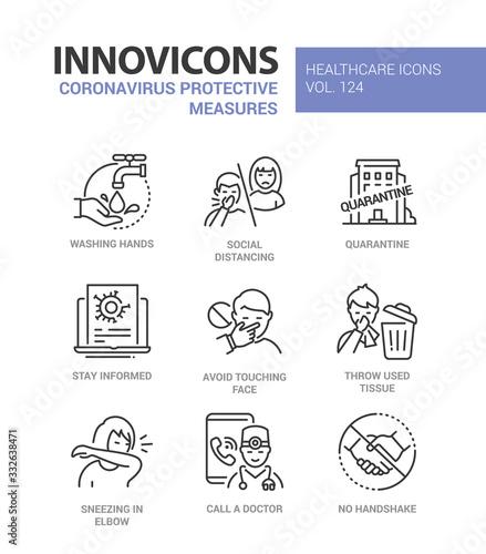 Leinwand Poster Coronavirus protective measures - line design style icons