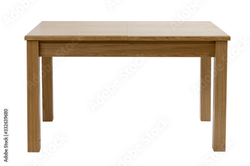 Obraz Wooden modern table isolated on white background. Kitchen dining table, front view. - fototapety do salonu