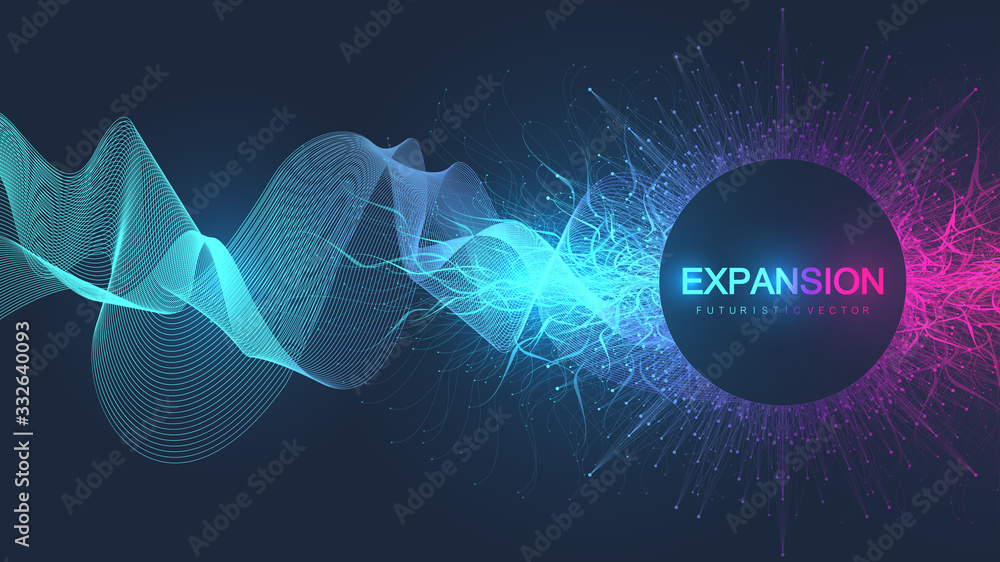 Fototapeta Abstract scientific background with dynamic particles, wave flow. 3D data visualization with fractal elements. Cyberpunk style. Digital vector illustration