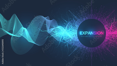Abstract scientific background with dynamic particles, wave flow. 3D data visualization with fractal elements. Cyberpunk style. Digital vector illustration