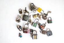 Vintage Locks And Keys On A White Background