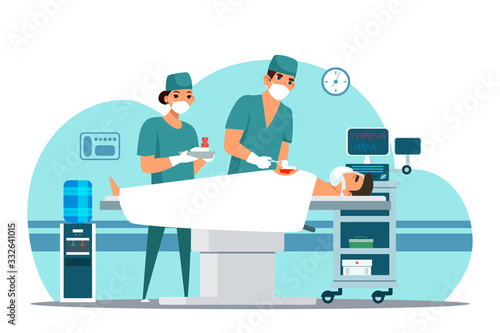 Fotografia Vector character doctor surgeon operating patient