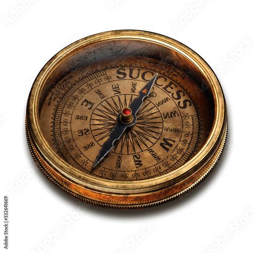 Fotografija Vintage brass compass isolated on white background