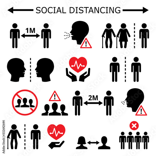 Obraz Social distancing during pandemic or epidemic vector icons set, keeping a distance between people, self-quarantine and self-isolation in society concept - fototapety do salonu