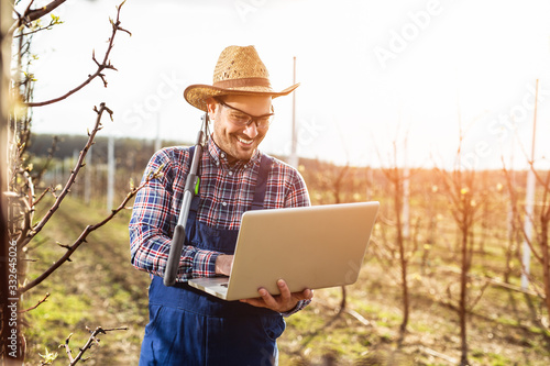 Photo Agronomist with laptop standing in pear orchard and checking tree