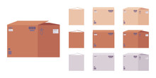 Moving Boxes Cardboard Set For Packing Household Items, Office Books, Clothes, Linens, Appliances, Parcel Transportation. Vector Flat Style Cartoon Illustration, Different Colors And View