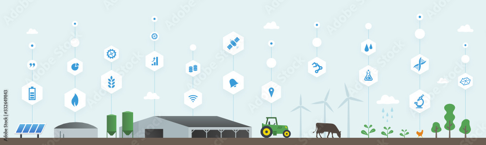 Fototapeta Smart farm, smart agriculture, agriculture numérique, digital farming