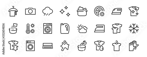 Fototapeta Simple set of washing related vector line Icons. Contains icons such as washing machine, powder, laundry, dirty t-shirt and much more. On a white background, editable stroke. 48x48 pixels perfect obraz
