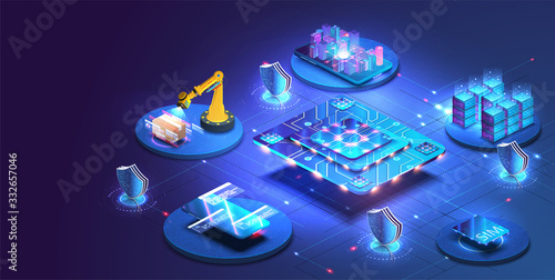 Photo Internet of things abstract blue central processing unit isometric icon in center of background