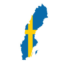 Vector Map Flag Of Sweden Isolated On White Background Kategorie Grafische Elemente