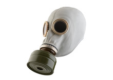 Gas Mask Isolated On White Background With Clipping Path. Environment Pollution.