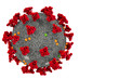 3D rendering red coronavirus cells covid-19 influenza flowing on white background