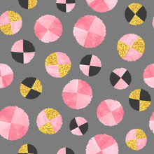 Seamless Abstract Pattern With Pink Circles.