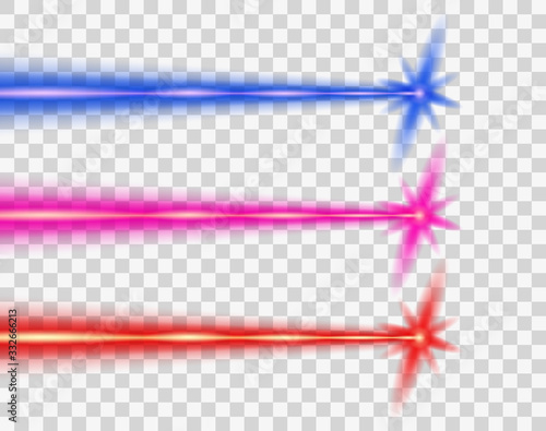 Laser beam color, set. Vector design element. The isolated transparent object on a light background. Wall mural