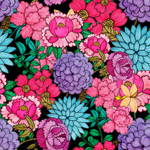 Creative Seamless Pattern With Flowers In Ethnic Style. Floral Decoration. Traditional Paisley Pattern. Textile Design Texture.Tribal Ethnic Vintage Seamless Pattern. Asian Art.