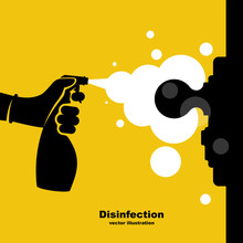 Close-up Disinfection Of Door ...