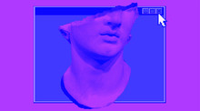 Sculpture In 8-bit Pixel Art Style, Old Hellenistic Marble Bust Or Colossal Head Of A Youth. Vaporwave Retro Style Illustration.