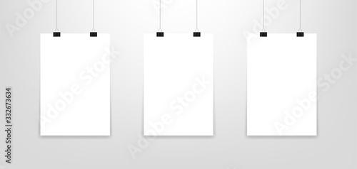 Cuadros en Lienzo Mockup poster. Three hanging poster mockup. Vector