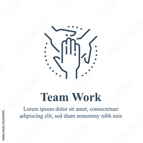 Photo Team work, cooperation or collaboration, unity concept, employee engagement, cro