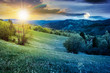 time change above rural landscape in mountains. countryside scenery on an overcast weather in spring in with sun and moon. day and night change concept