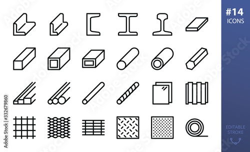 Fotografie, Tablou Rolled steel vector icons set