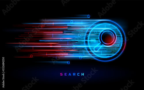 Obraz Internet search engine technology, vector red blue neon magnifier sign background. Website search and SEO optimization, web data digital analysis, digital marketing and online information - fototapety do salonu
