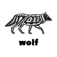 Folk Monochrome Wolf Isolated On A White Background . Vector Illustration Hand Drawn In The Scandinavian Style And Lettering Wolf. For Postcards, Posters, Fabrics, Banners, And Tableware Design
