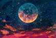 canvas print picture - Fantastic oil painting beautiful big planet moon among stars in universe. Fantasy concept cosmos fine art paintingartwork for book illustration