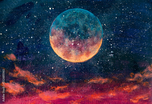 Foto Fantastic oil painting beautiful big planet moon among stars in universe