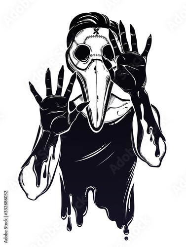Cuadros en Lienzo Symbol of a health crisis, epidemic virus disease outbreak as a human corpse monster in a plague doctor mask