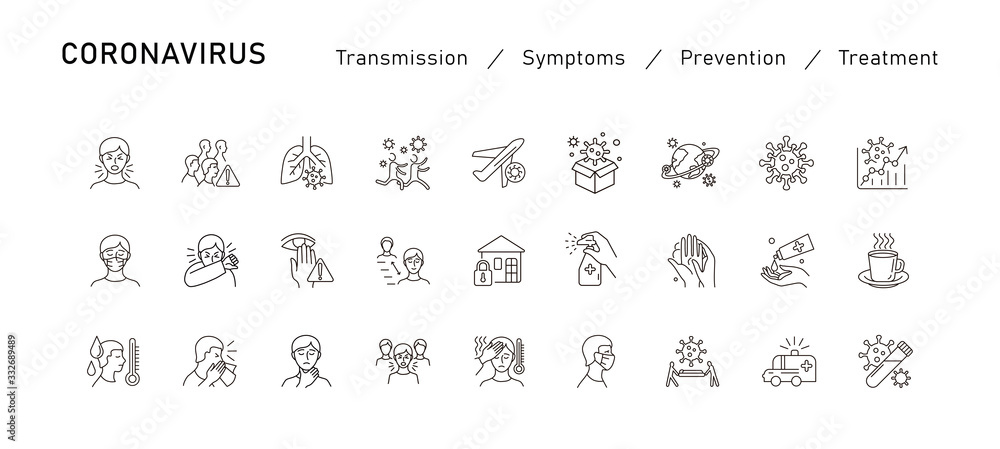 Fototapeta Set of Coronavirus Protection. Prevention of New epidemic 2019-nCoV icon set for infographic or website. Safety, health, remedies and prevention of viral diseases. Isolation. Vector
