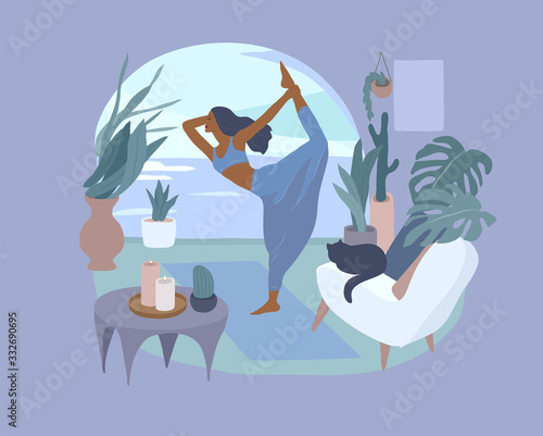 Cute girl doing yoga poses. Lifestyle by young woman in home interior with homeplants. Fashion illustration by femininity, beauty and mental health. Feminine cartoon Wall mural