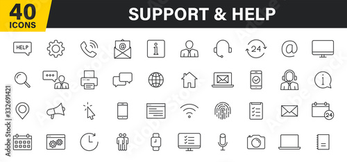 Obraz Set of 40 Support and Help web icons in line style. Assistance, email, customer, 24 hrs, service, contact. Vector illustration. - fototapety do salonu