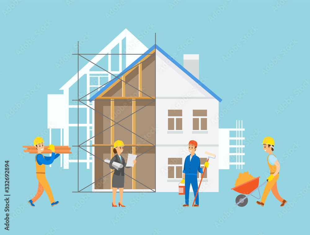 Fototapeta Engineers and handymen vector, people with tools and instruments working on construction of apartment, male with carriage filled with sand, planning lady