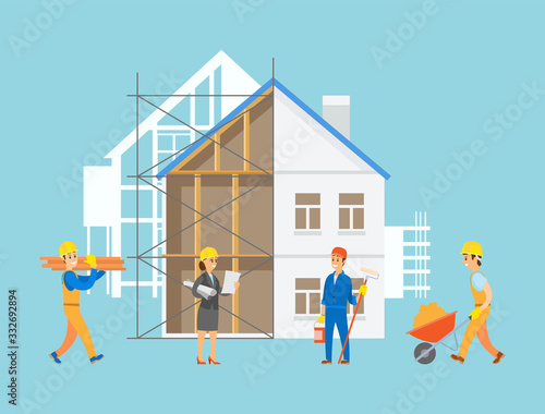 Obraz Engineers and handymen vector, people with tools and instruments working on construction of apartment, male with carriage filled with sand, planning lady - fototapety do salonu