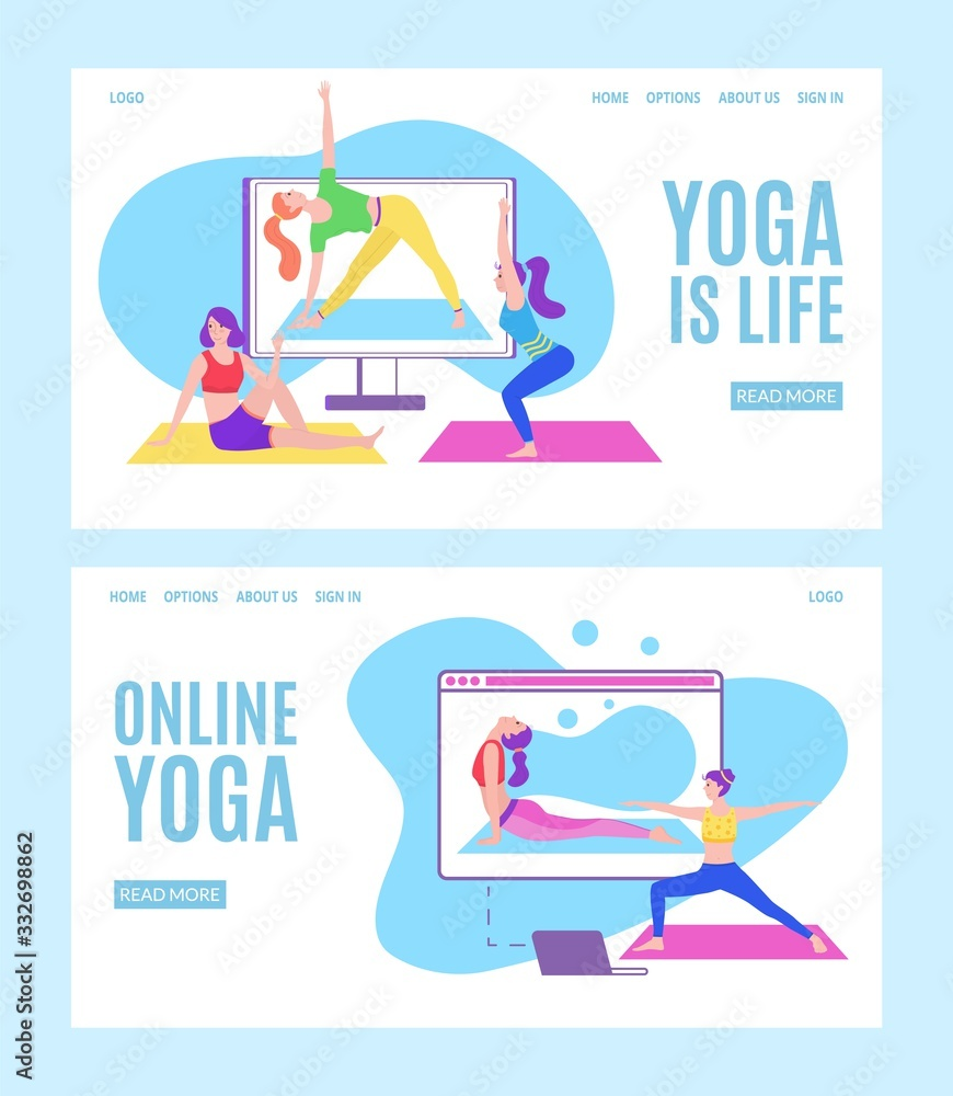 Fototapeta Yoga online with girls in meditation poses doing physical exercises and watching online classes via tablet or laptop, flat web vector illustration. Online yoga with instructor at home web banners set.