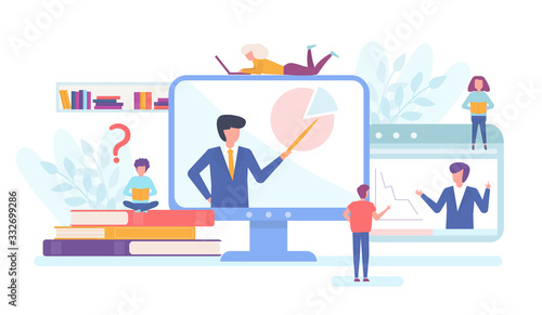 Fotografía Online business educational concept people training and learning, computer sqreen with teacher or trainer, books and tiny people flat vector illustration