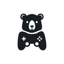 Bear Game Logo Vector Design.