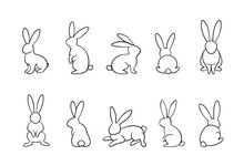 Bunny Outline Vector Set, Rabbits In Different Position Collection, Monochrome, Easter, Line Art, Outline, Isolated On White Background