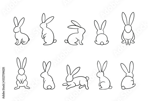 Foto bunny outline vector set, rabbits in different position collection, monochrome,