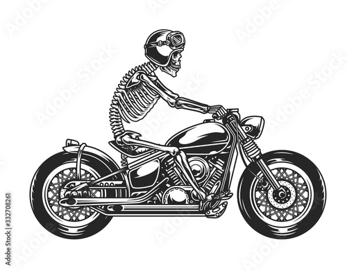 Stampa su Tela Skeleton biker driving motorcycle