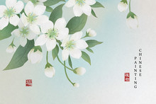 Chinese Ink Painting Art Background Plant Elegant Flower Pear Blossom. Chinese Translation : Plant And Blessing.