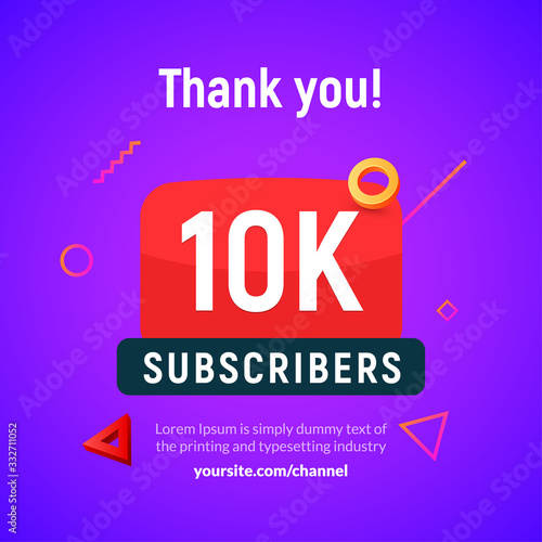 10000 followers vector post 10k celebration Fototapeta
