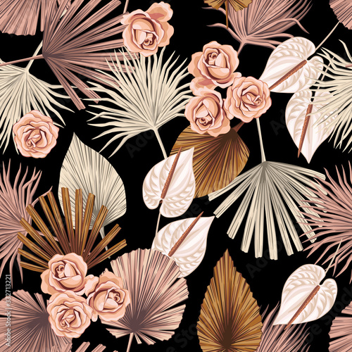 Photo Tropical floral boho dried palm leaves, rose, anthurium flower seamless pattern black background