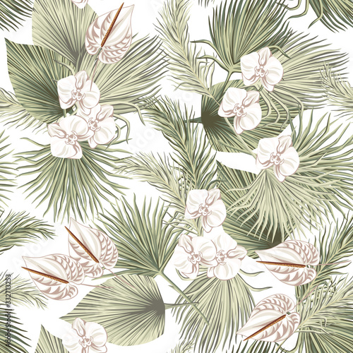 Tapety do jadalni  tropical-floral-boho-dried-palm-leaves-orchid-anthurium-flower-seamless-pattern-white-background