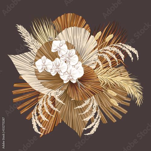 Boho bouquet dried palm leaves orchid flower illustration Canvas Print