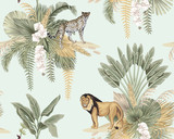 Vintage tropikalny bananowiec, liście palmowe kwiatowy, kwiat orchidei, lew, lampart zwierząt dzikiej przyrody wyspa wzór niebieski tło Tapeta egzotycznego safari. - 332713403