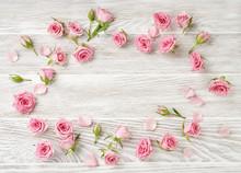 Rose Flowers On White Wooden B...