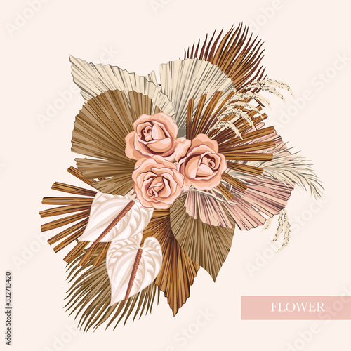 Fototapeta Boho bouquet dried palm leaves rose anthurium flower illustration. Tropical jungle floral vector composition. obraz